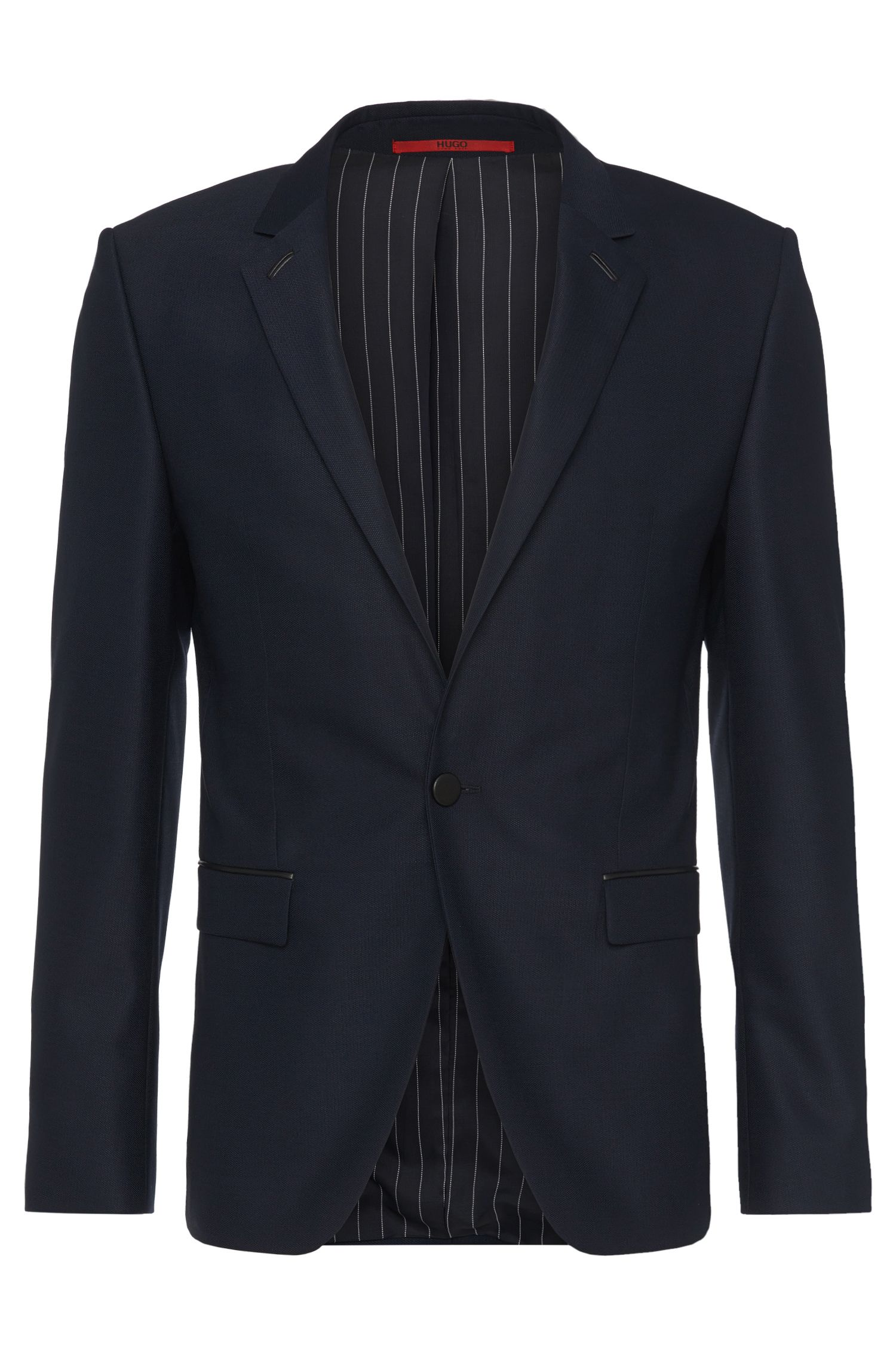 Extra-slim-fit jacket in fabric blend with wool: 'Arenz'