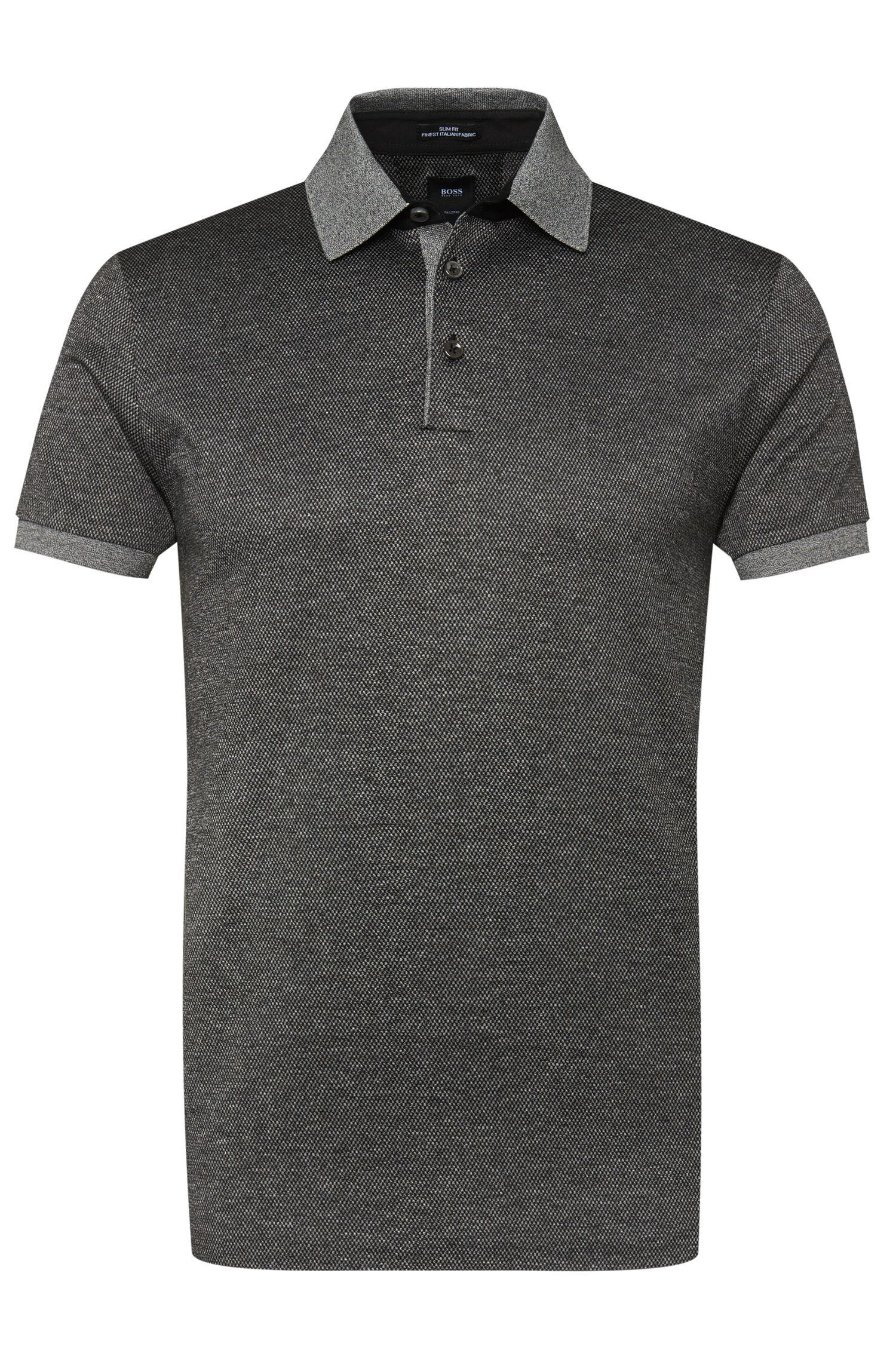 Patterned slim-fit polo shirt in cotton blend with silk: 'T-Preston 06'
