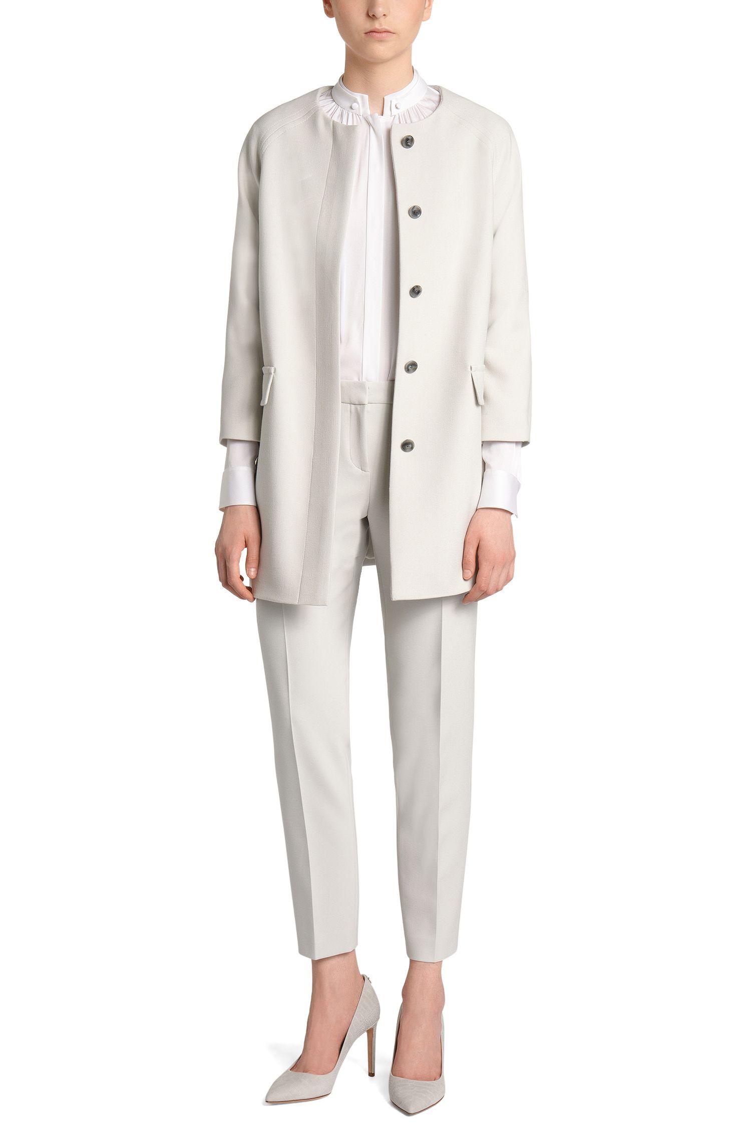 Regular-fit blouse van stretchzijde: 'Blusil1'