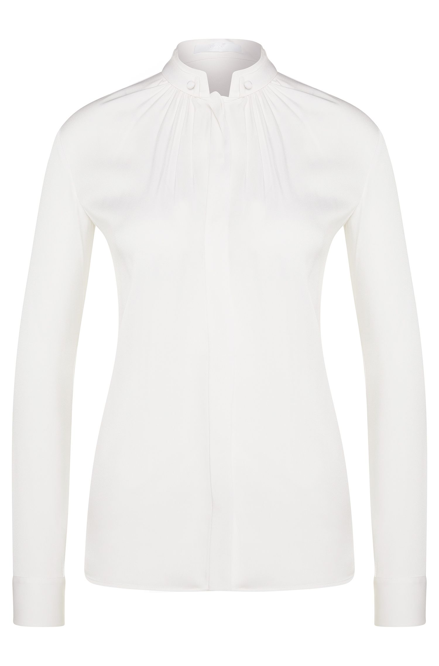 Regular-fit blouse in stretch silk: 'Blusil1'
