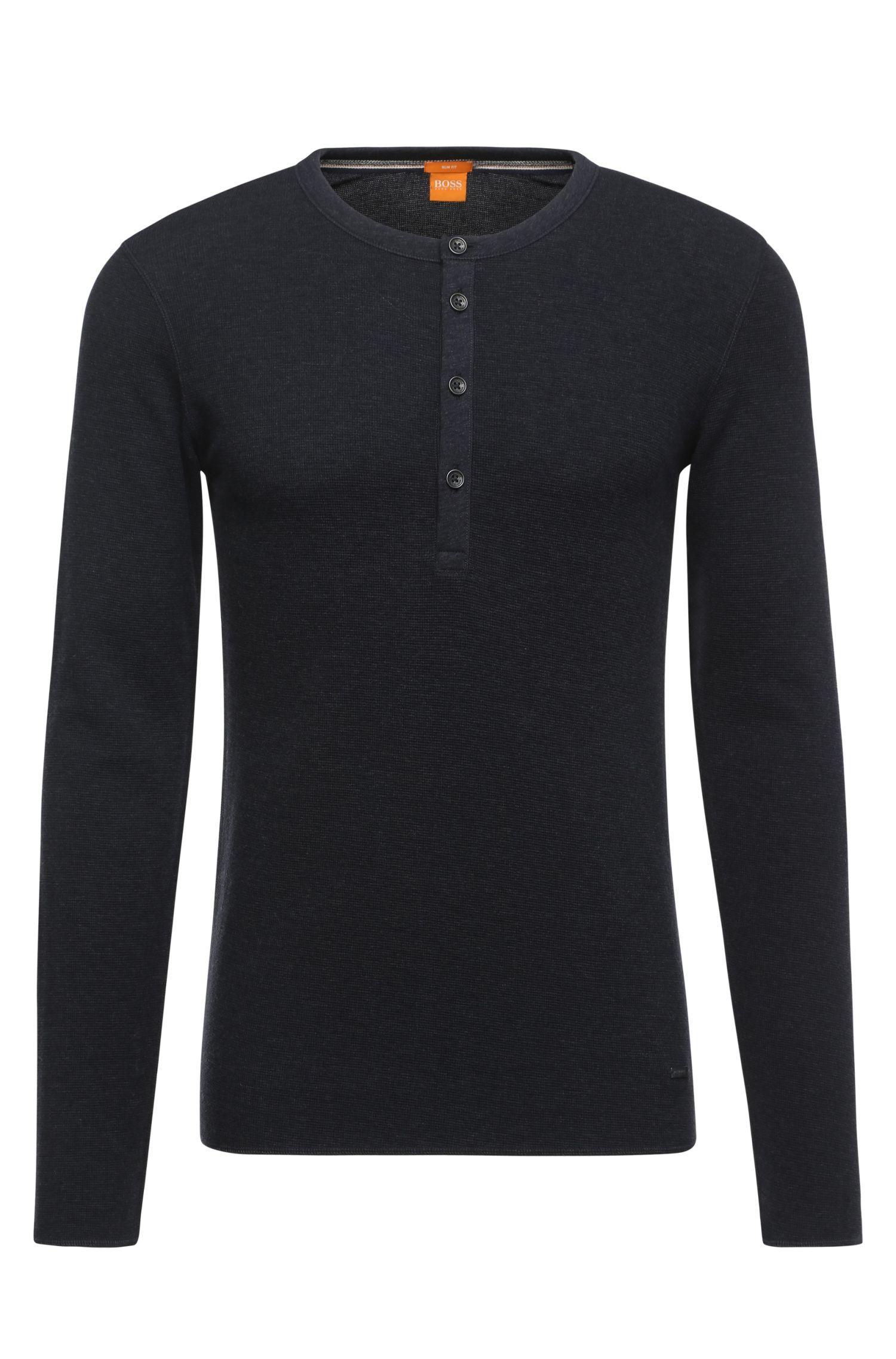 Camiseta Henley slim fit en algodón puro con textura gofrada: 'Topsider'