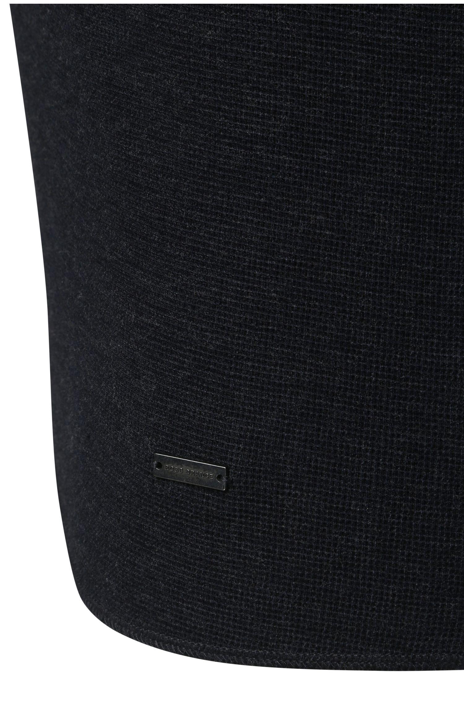 T-shirt Henley Slim Fit en pur coton à la texture gaufrée: «Topsider»