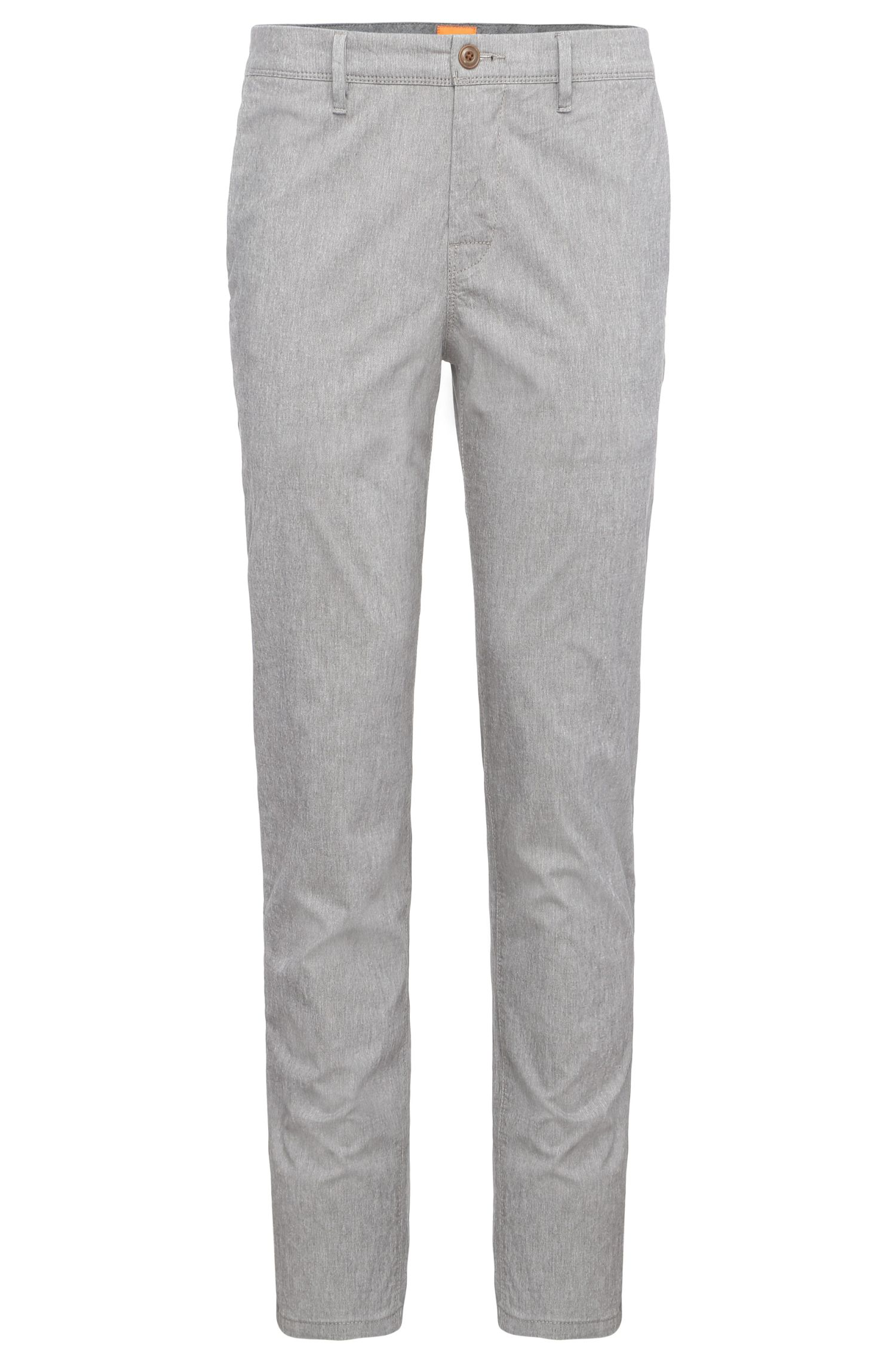 Chino tapered fit in cotone elasticizzato con motivo mélange: 'Schino-Tapered-W'