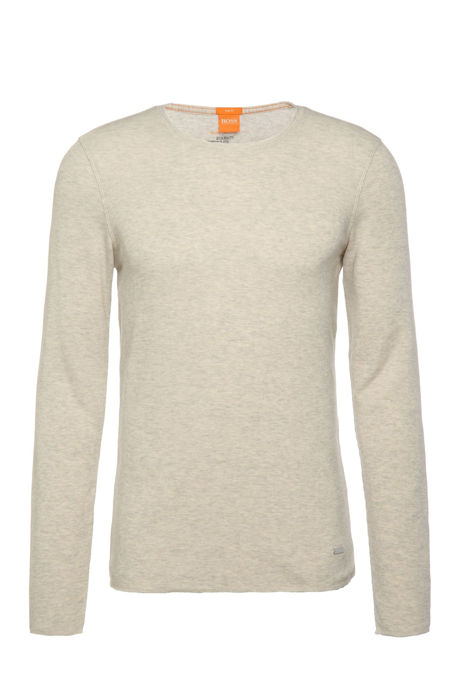 Slim-fit long-sleeved t-shirt with a fine waffled texture: 'Terris 1'