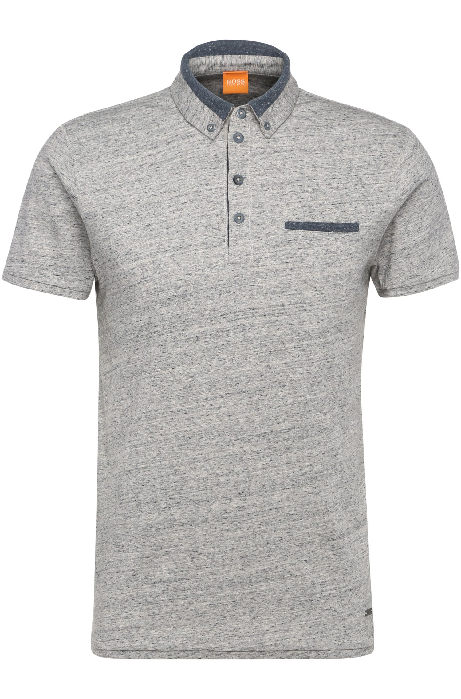 Slim-fit polo shirt in mottled cotton: 'Pyx'