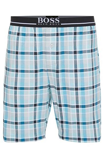 Karierte Schlafshorts aus Baumwolle: 'Short Pant EW Jersey', Hellblau