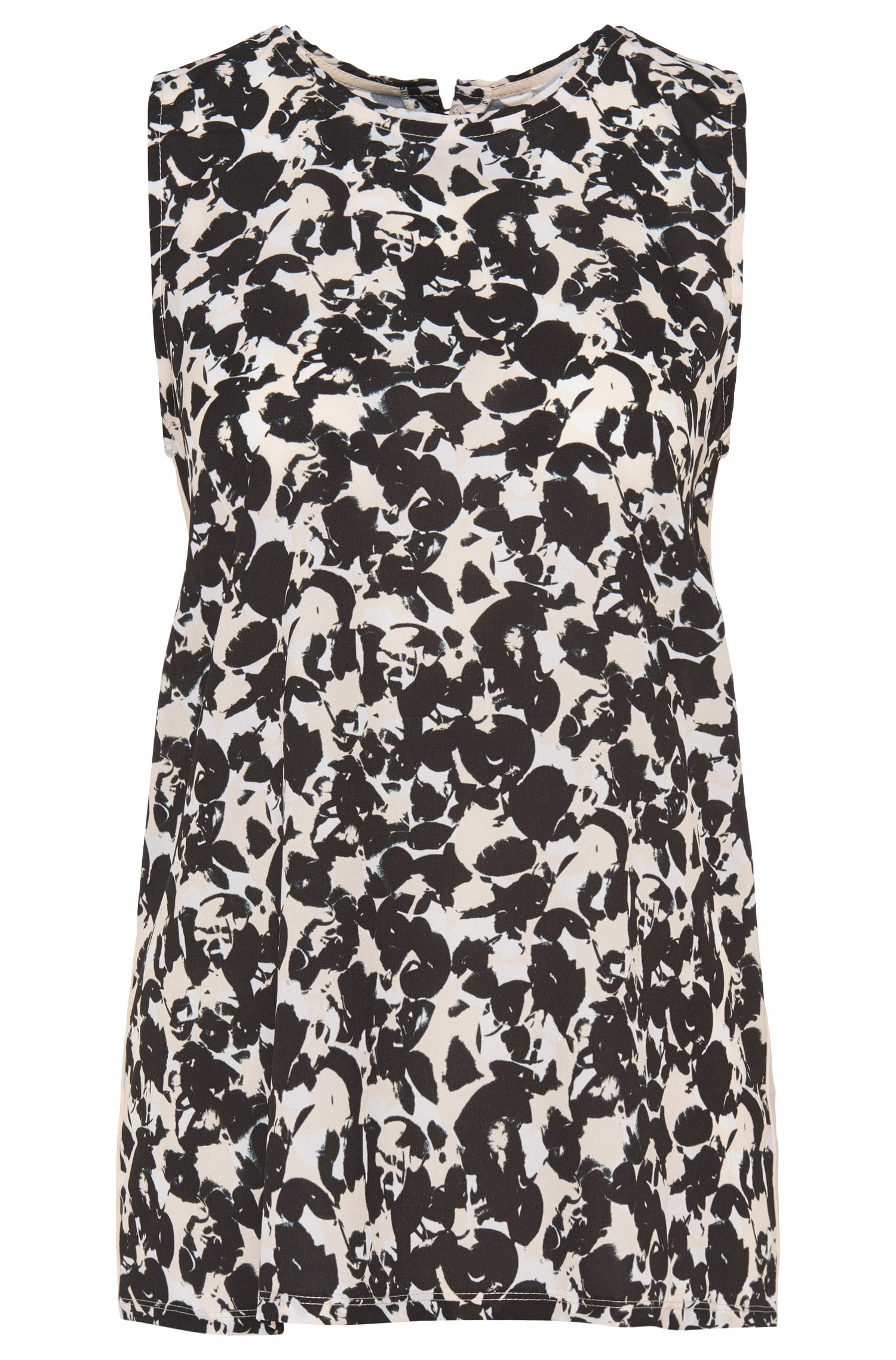 Fabric-blend top in a mixture of patterns with a silk front: 'Emese'