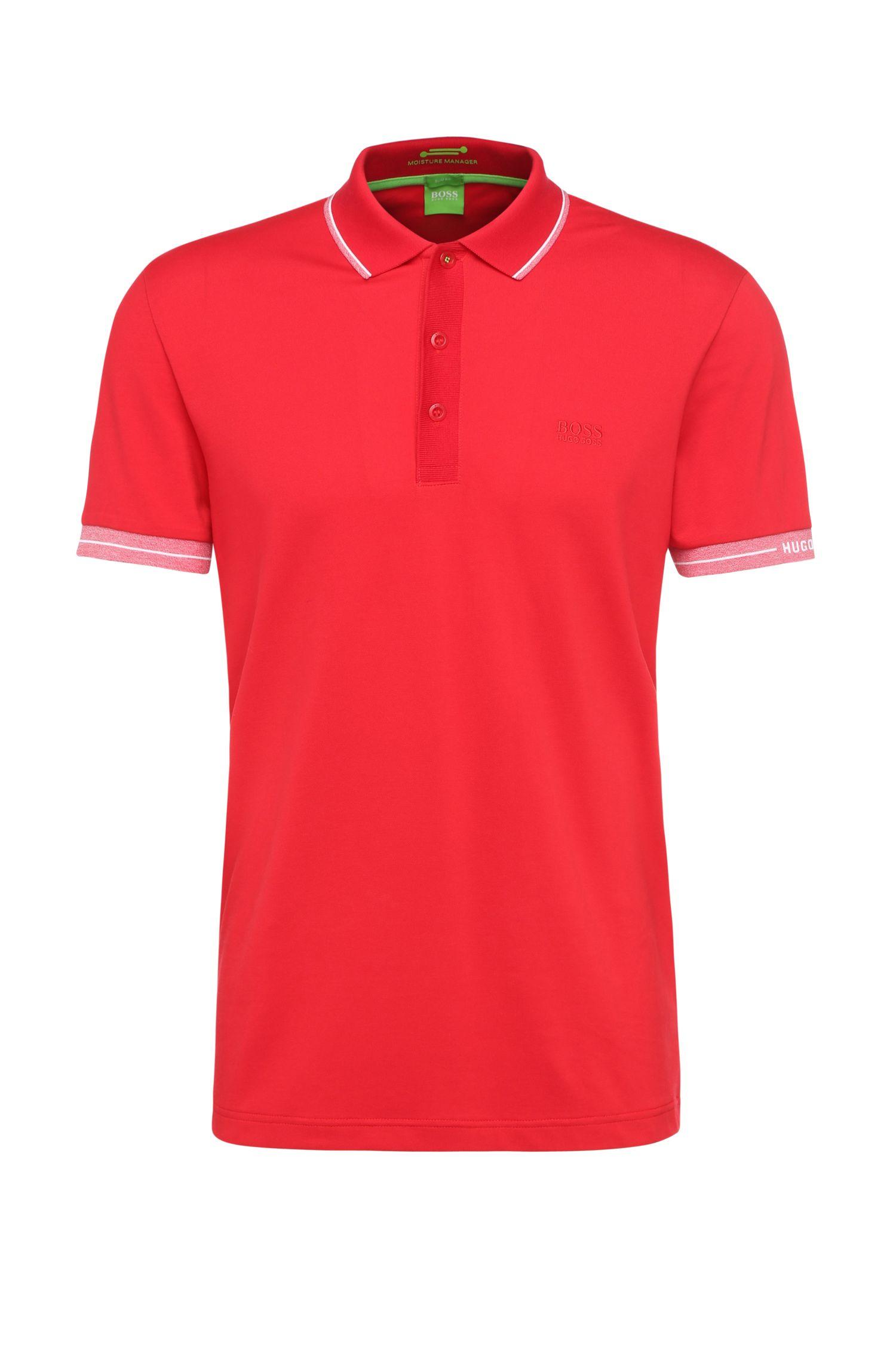 Slim-fit polo shirt in functional piqué: 'Paule'