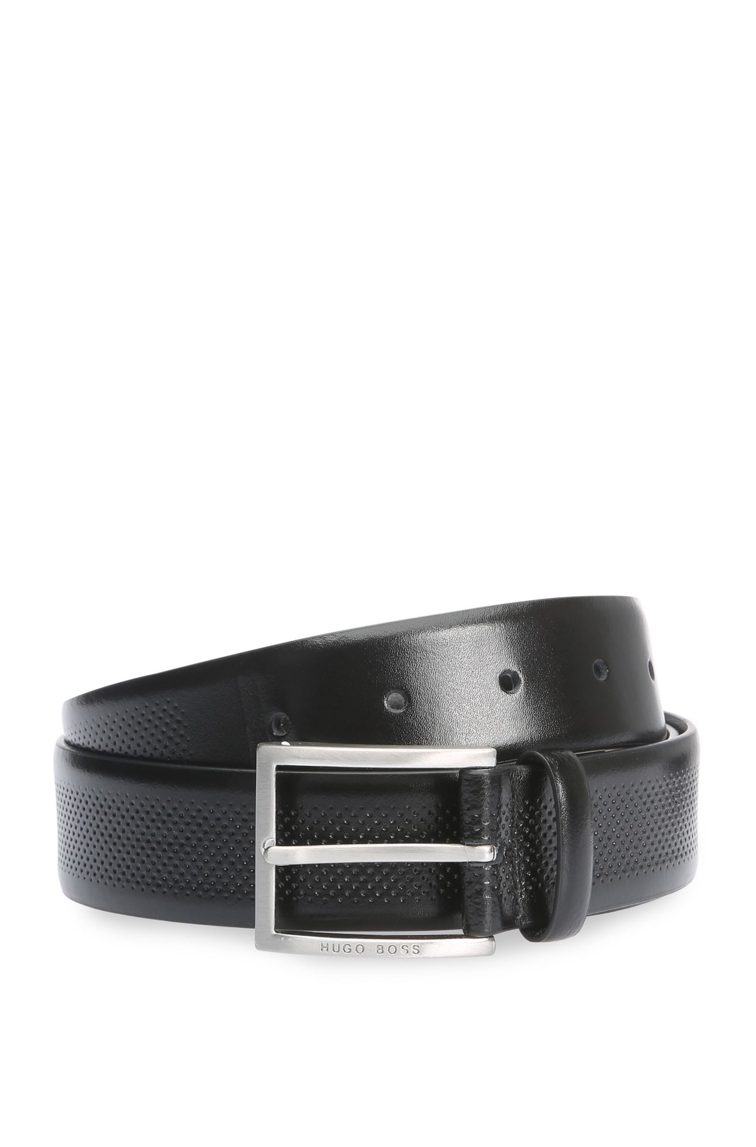 Leather belt with fine perforations: 'Terrasy_Sz35_ltem'