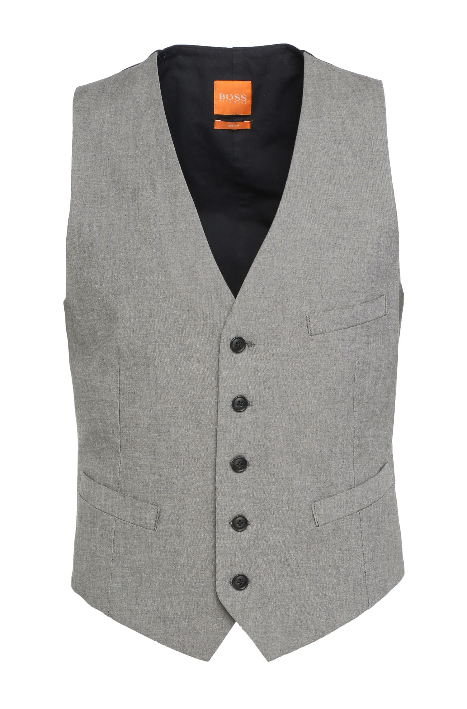 Gilet Slim Fit en coton extensible : « Bacer_BS-W »