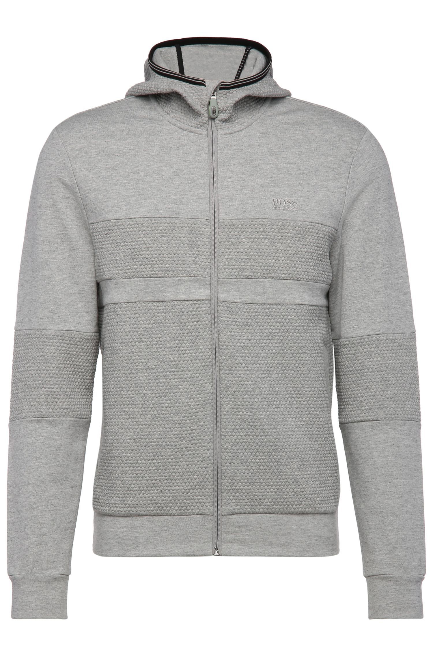 Regular-Fit Sweatshirt-Jacke aus French Terry mit Kapuze: ´Saggy 1`