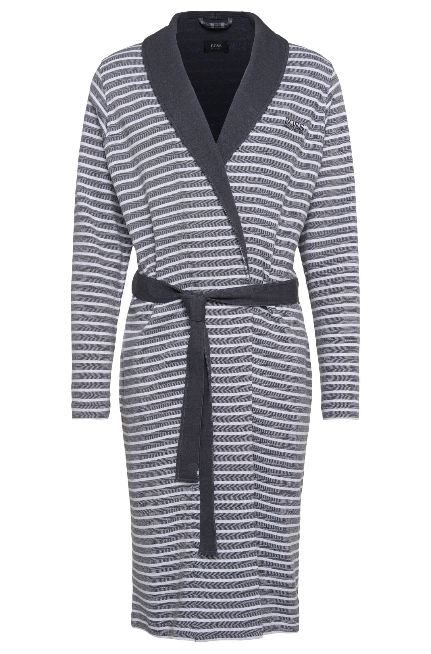 Striped dressing gown in cotton blend: 'Shawl Collar Robe'