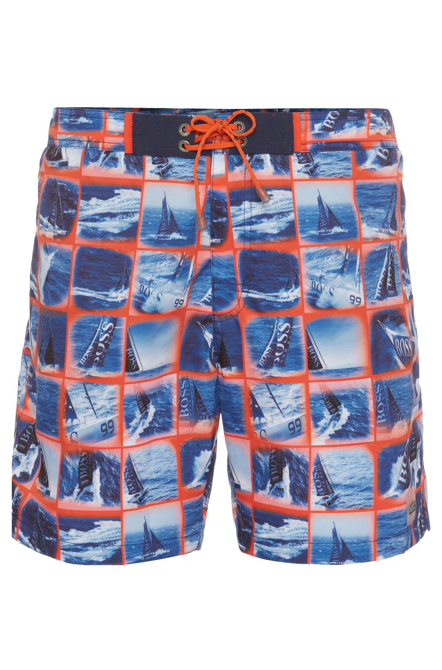 Swim shorts in quick-drying fabric blend with a photo print: 'Octopus'