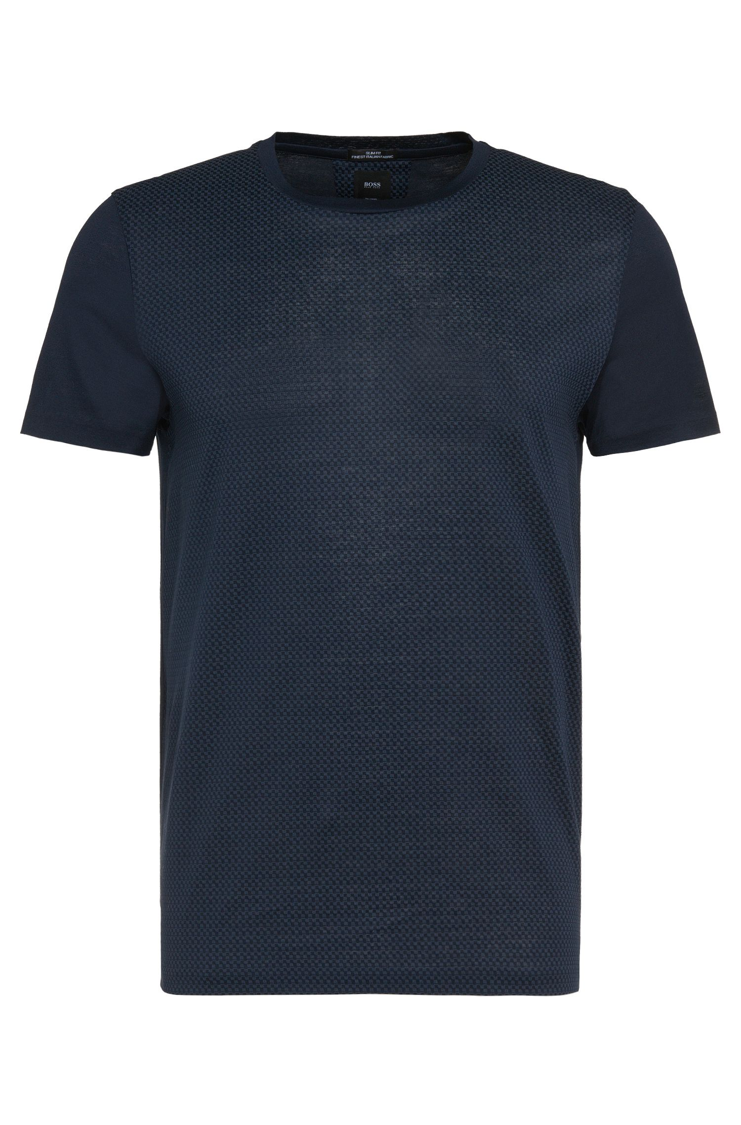 Subtly patterned slim-fit t-shirt in cotton: 'T-Tribel 14'