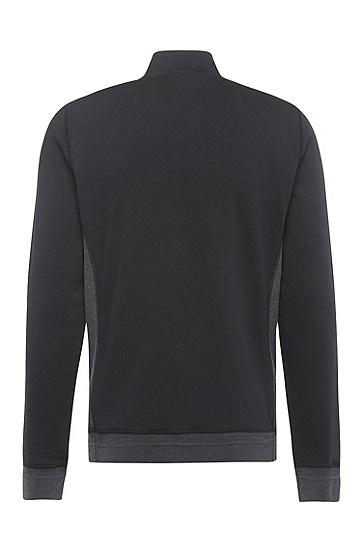 Sweatshirt-Jacke aus Baumwoll-Mix mit kontrastfarbener Vorderseite: ´Zimple`, Schwarz