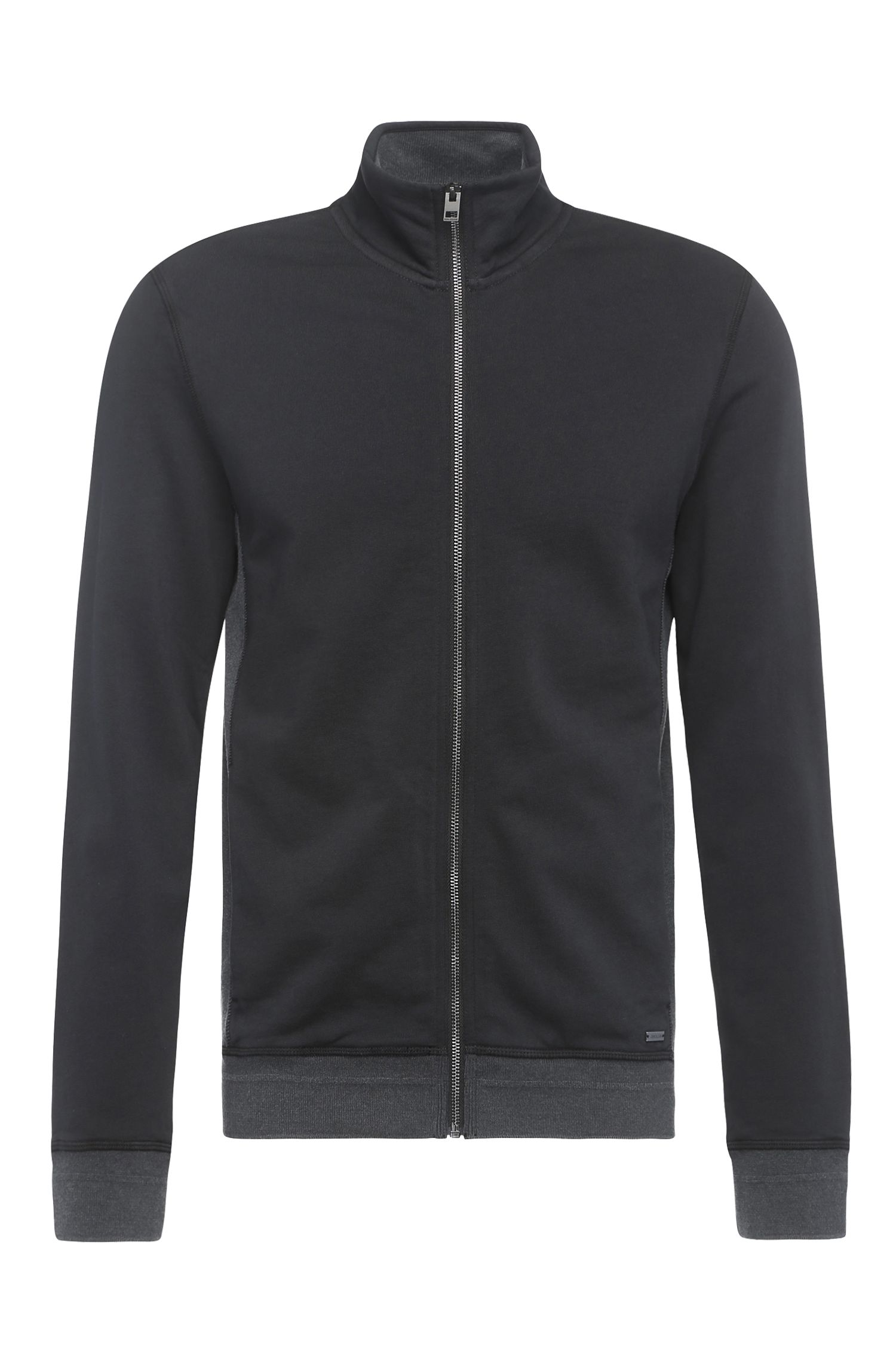 Sweatshirt jacket in cotton blend with contrasting colour front: 'Zimple'