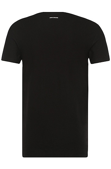 Bedrucktes T-Shirt aus Baumwolle: ´Teak`, Schwarz