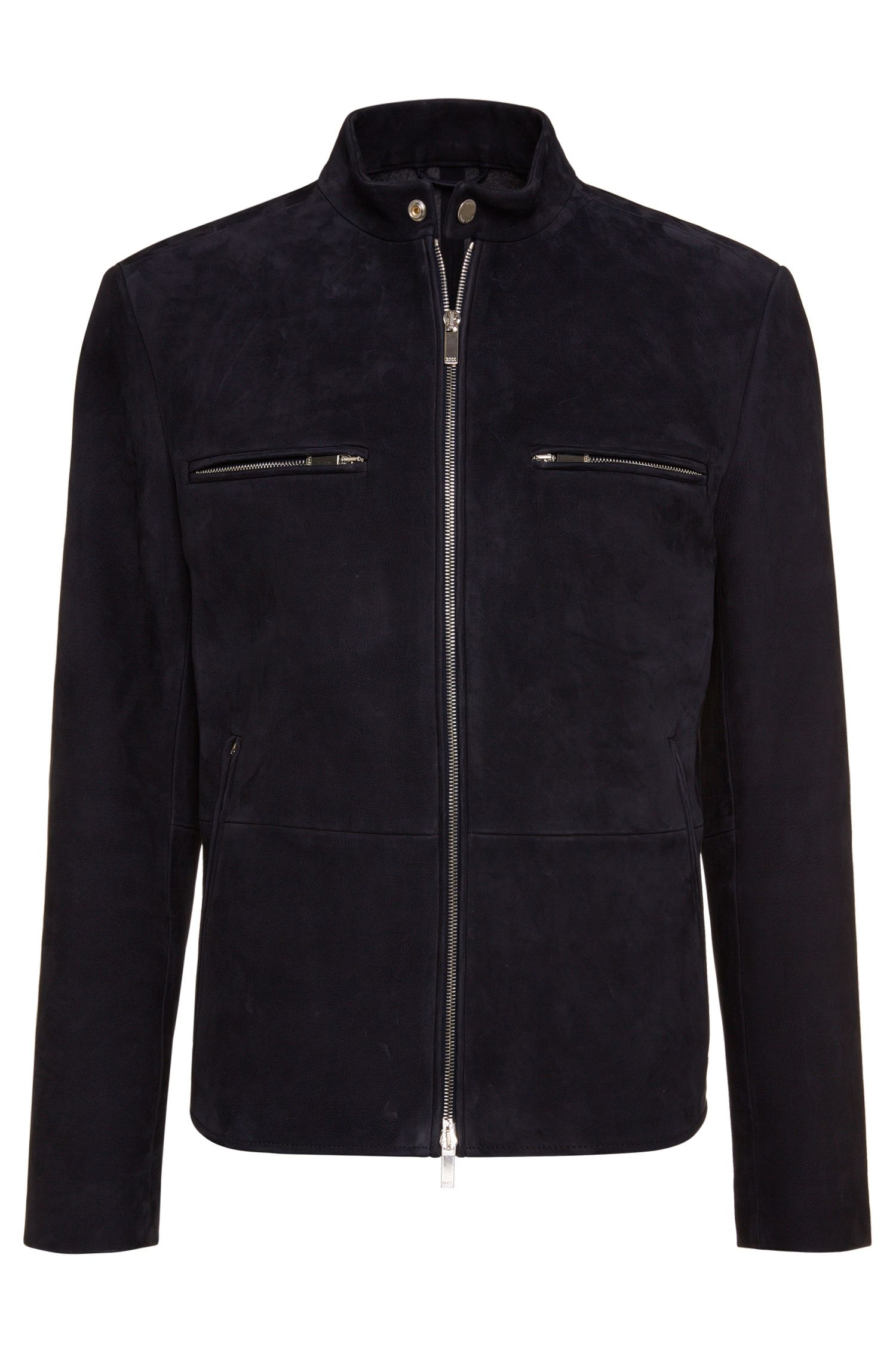 Leather jacket with 2-way zip: 'T-Navron'