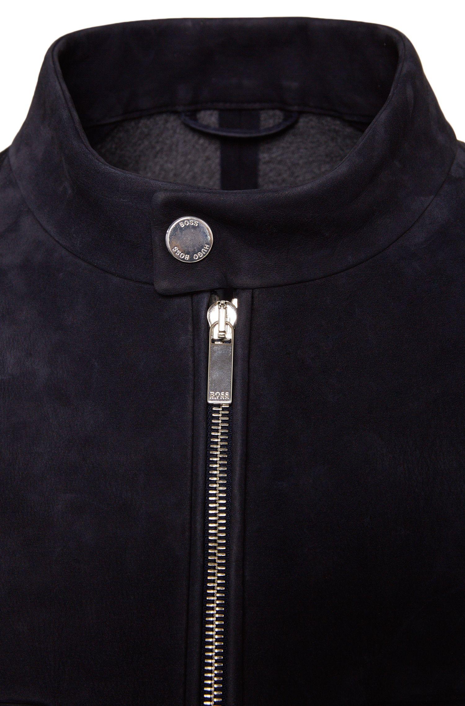 Blouson en cuir doté d'un zip à double sens: «T-Navron»