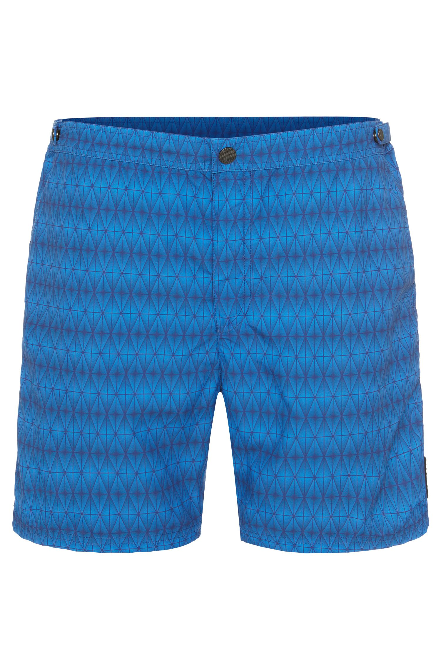 Patterned swim shorts in a quick-drying fabric blend: 'Tigerfish'