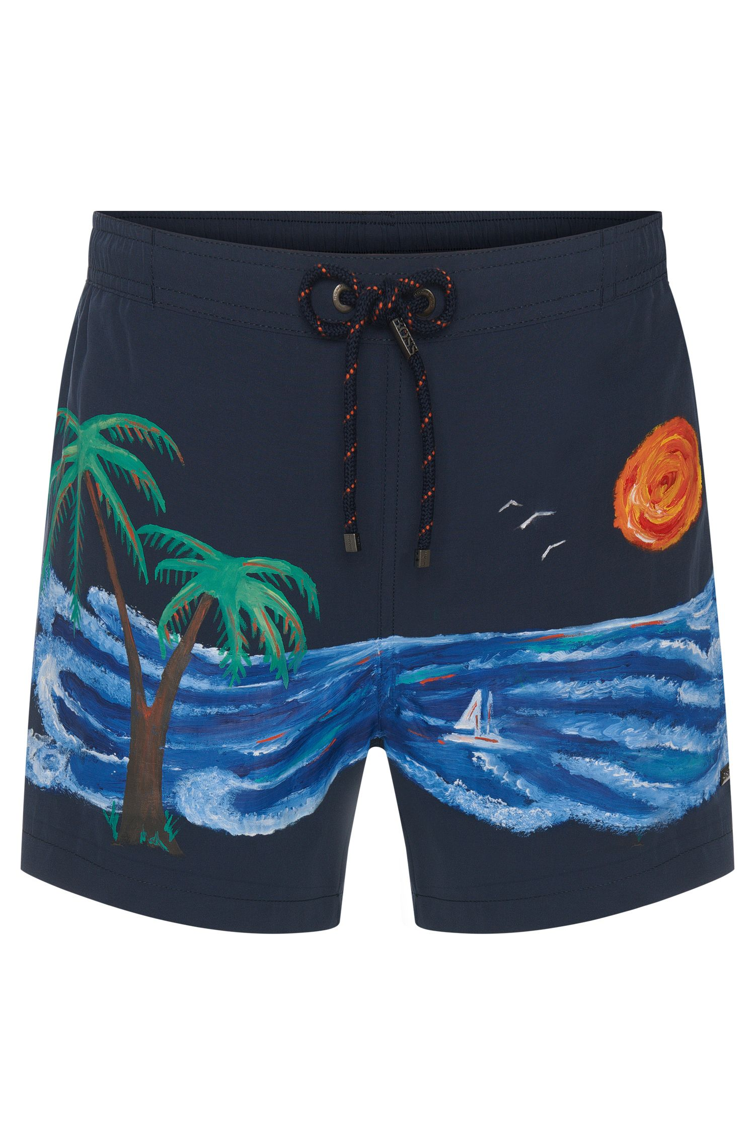 Swim shorts with hand-painted print: 'Sand Shark'