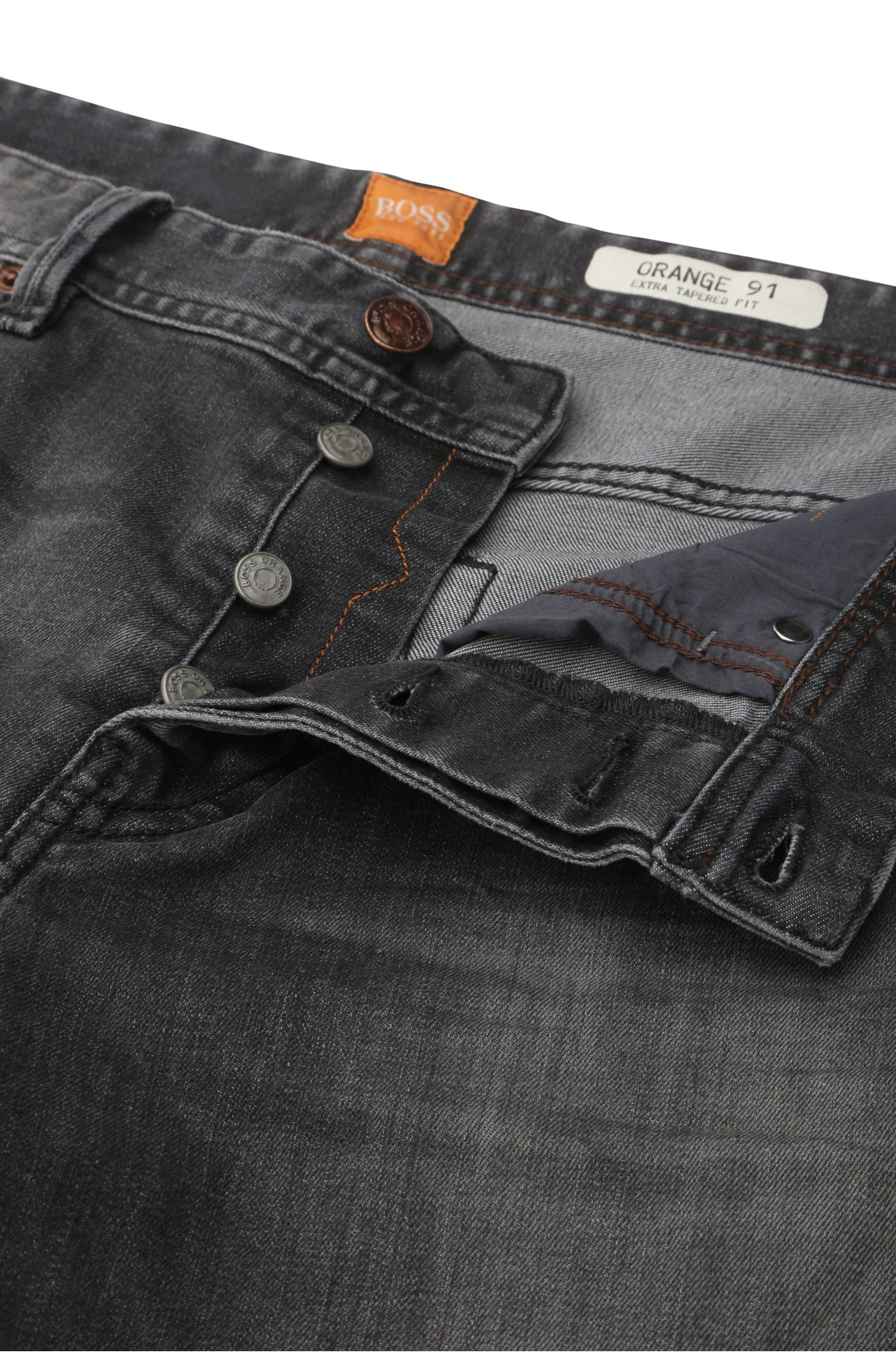 Tapered-fit jeans van stretchkatoen: 'Orange91'