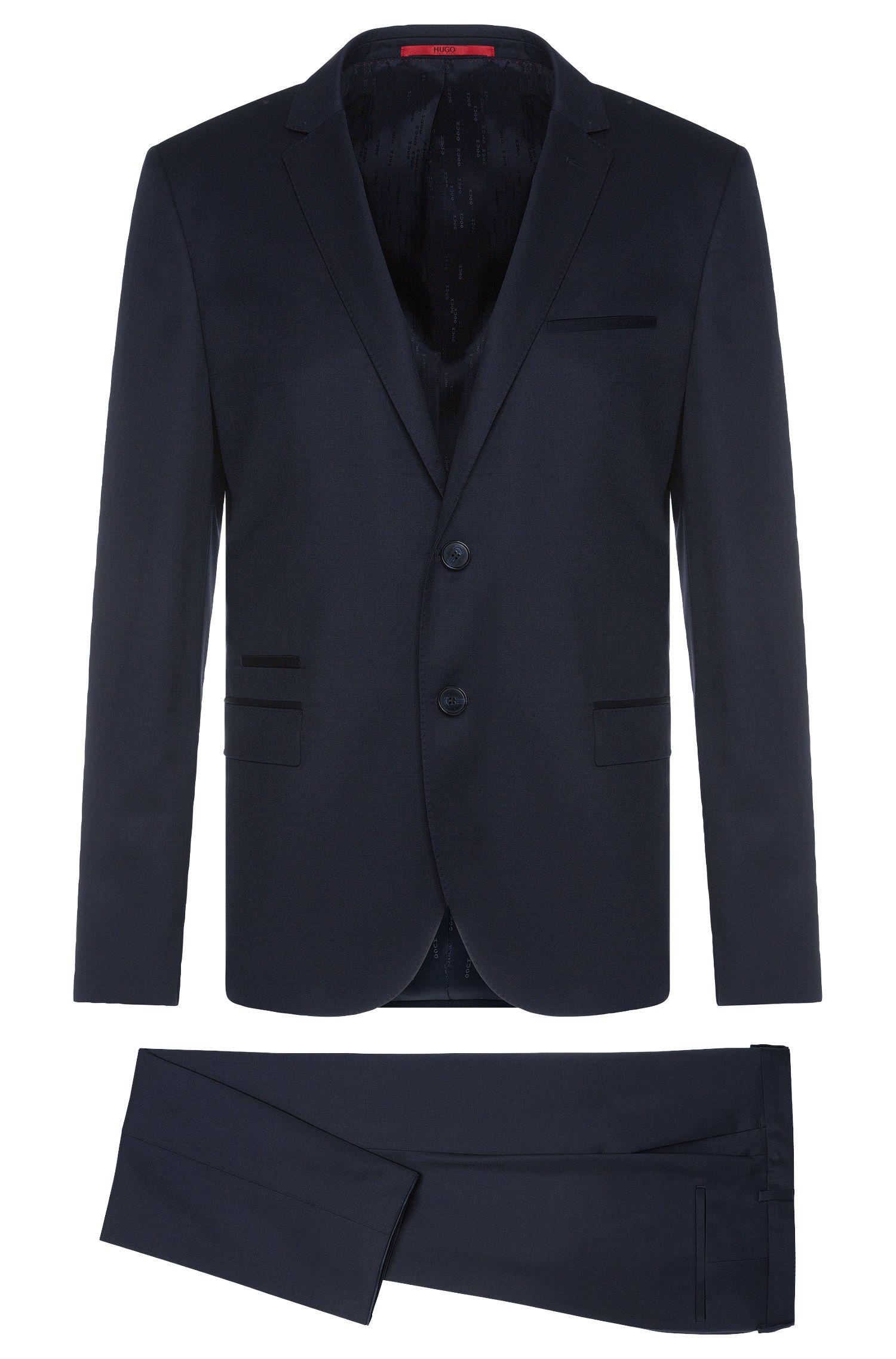 Plain-coloured slim-fit suit in new wool: 'Arti1/Heilon'