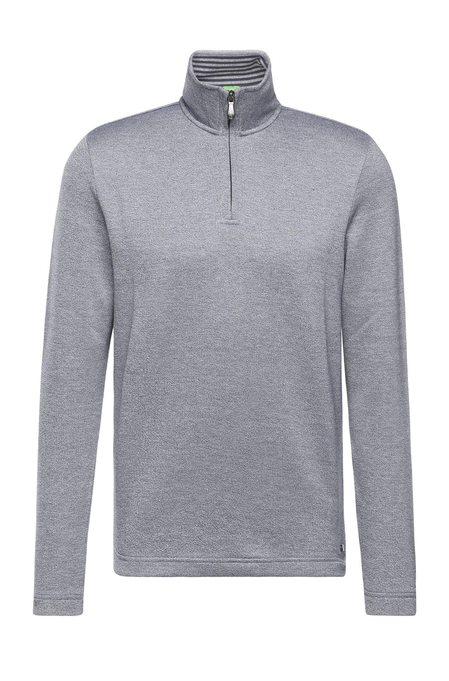 Troyer-style sweatshirt in stretchy cotton: 'C-Piceno'