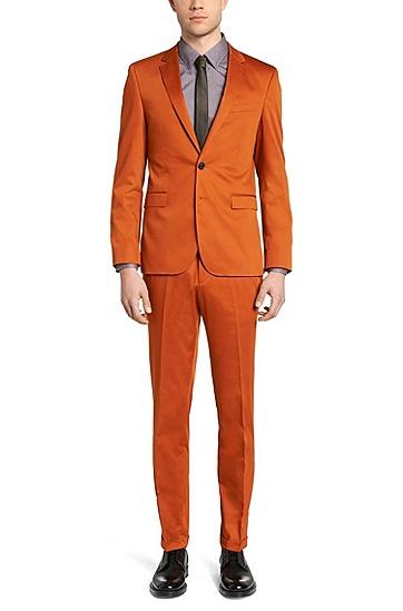 Slim-Fit Hemd aus reiner Baumwolle mit feinem Muster: 'C-Jan', Dunkelbraun