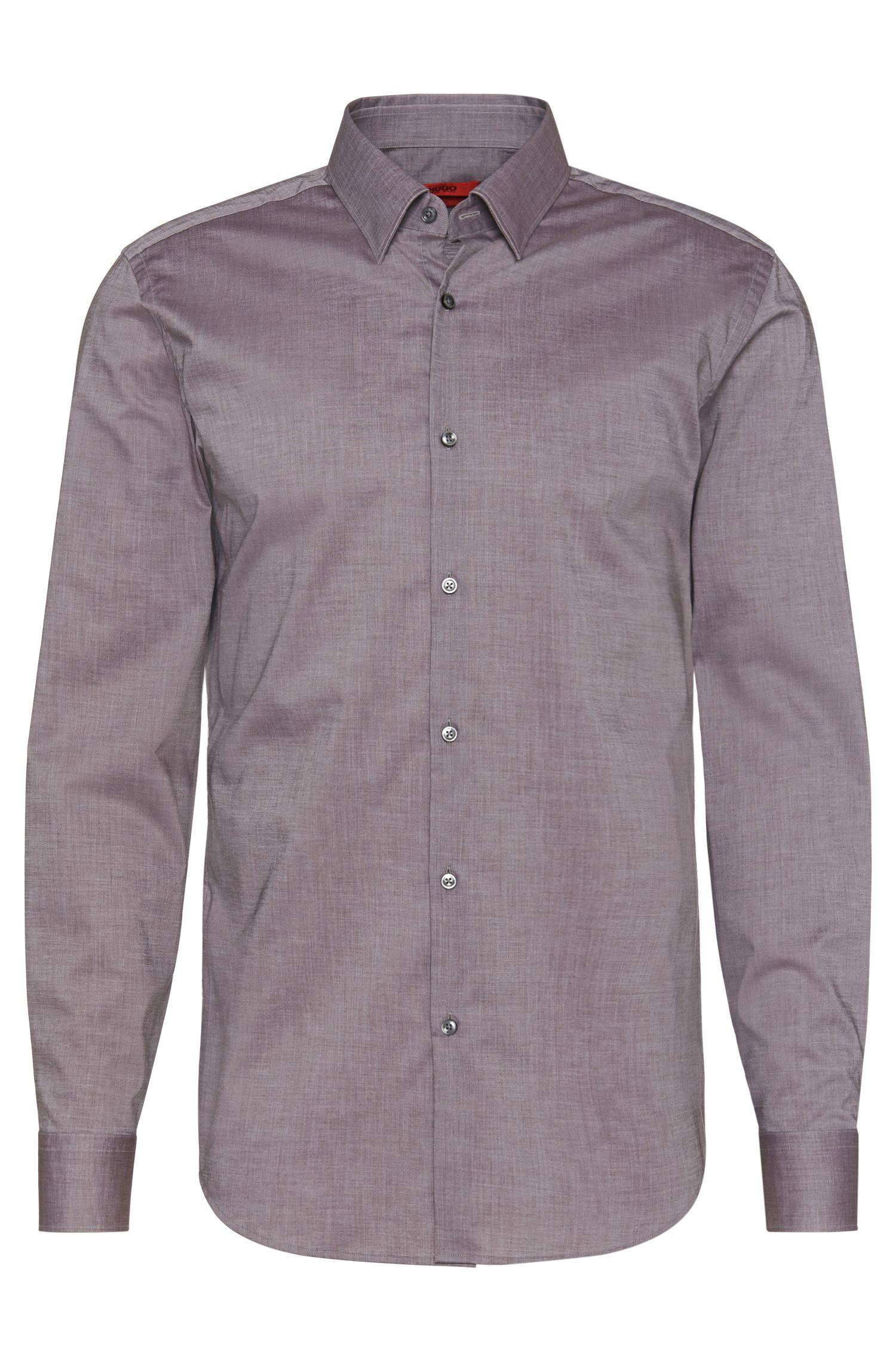 Slim-Fit Hemd aus reiner Baumwolle mit feinem Muster: 'C-Jan'