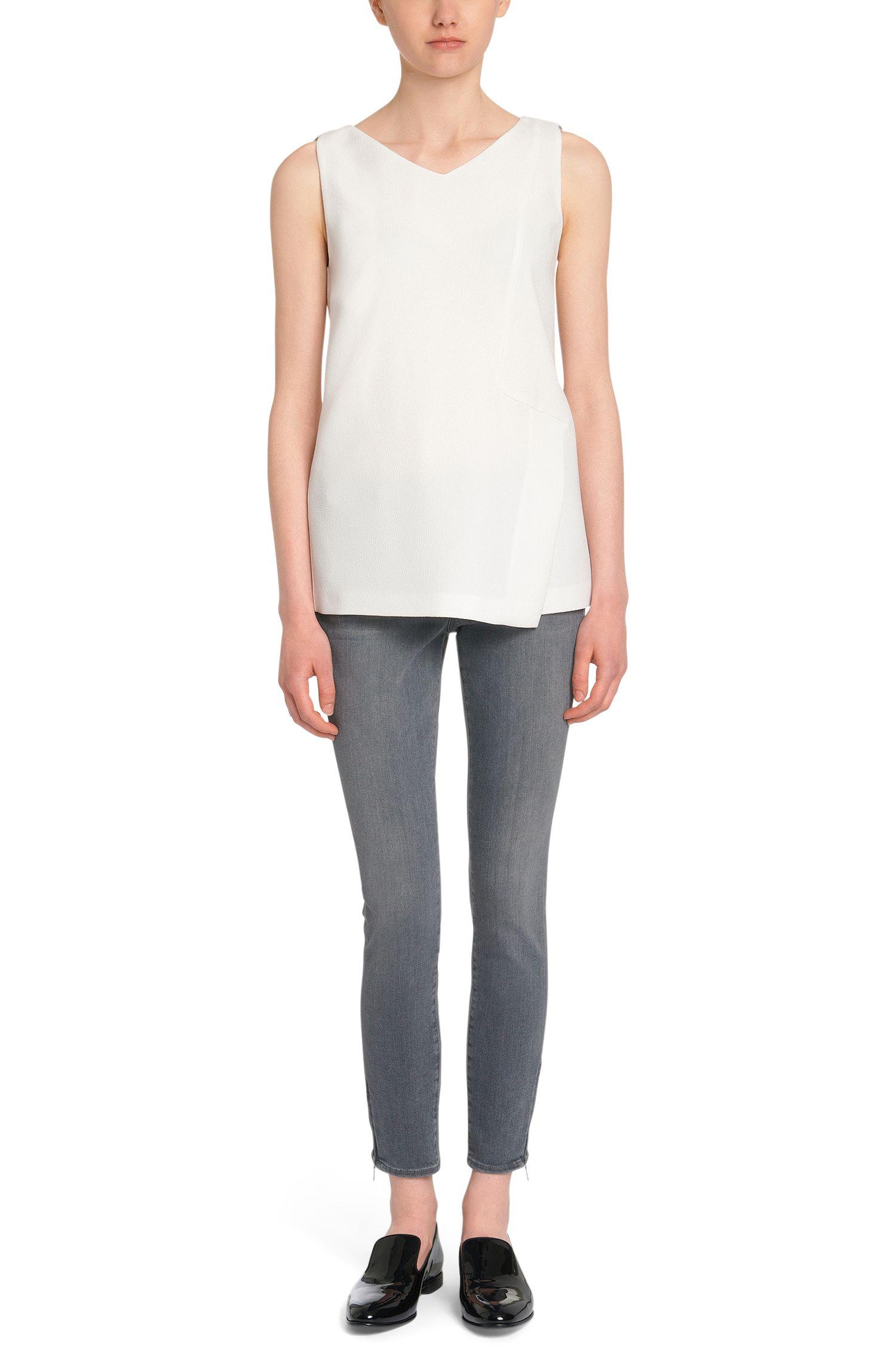 Slim-fit jeans van een katoenmix met ritsdetails: 'Nafice'