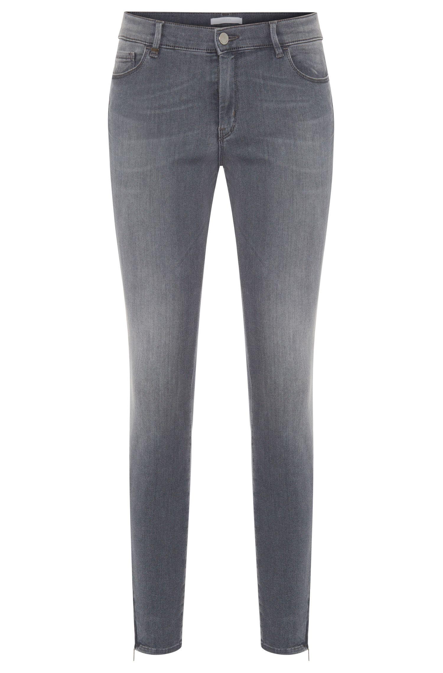 Slim-Fit Jeans aus Baumwoll-Mix mit Reißverschluss-Details: 'Nafice'