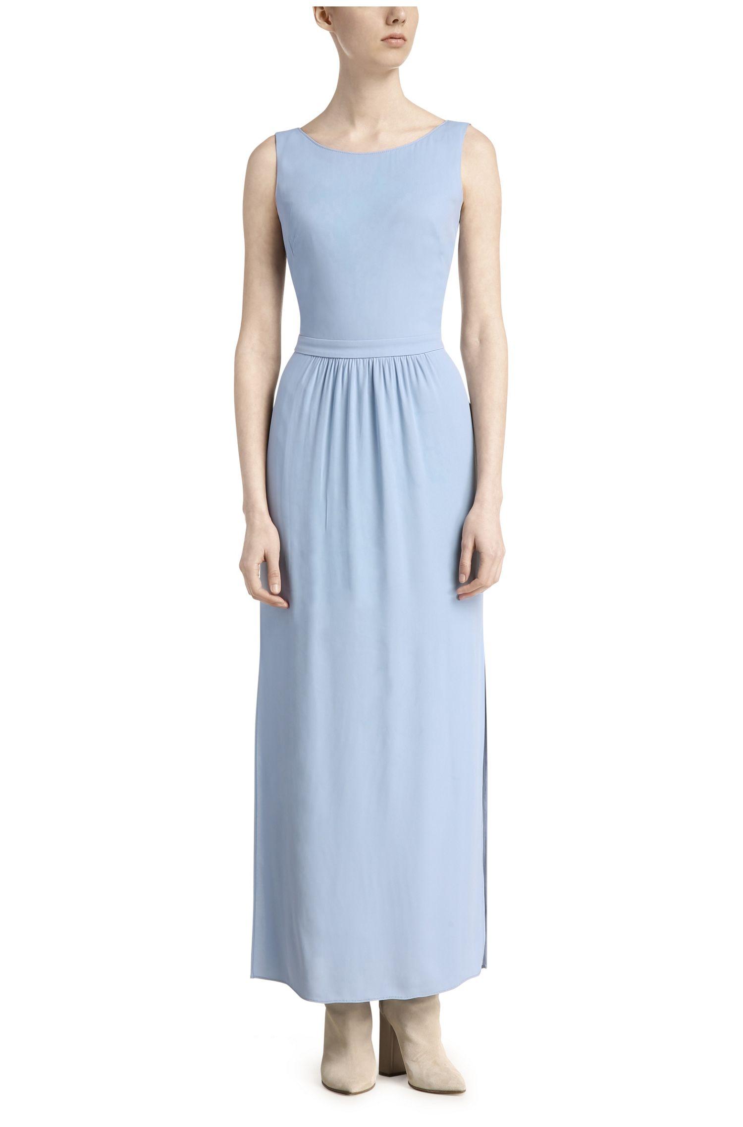 Ärmelloses Maxi-Kleid aus fließendem Material-Mix: ´Abellara`
