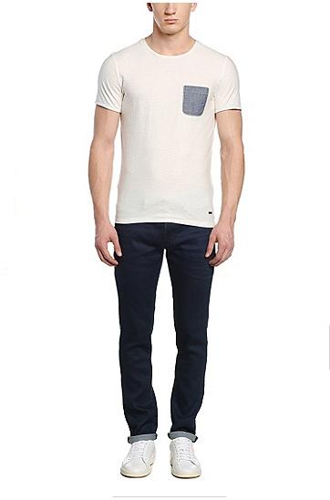 Fashion-Fit Baumwollshirt mit Kontrast-Tasche: ´Tred`, Natur