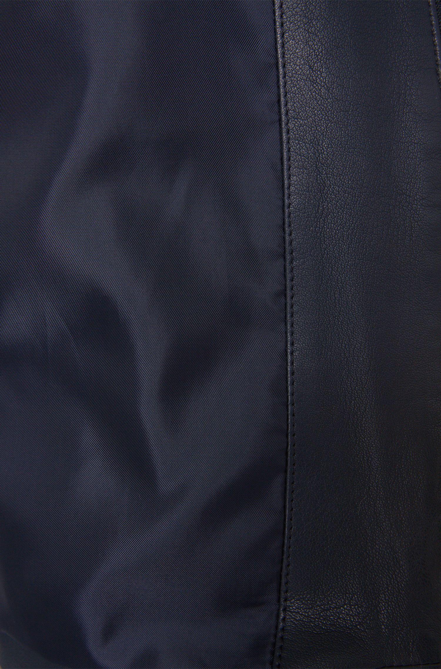 Effen leren jas met korte opstaande kraag: 'Nevilo'