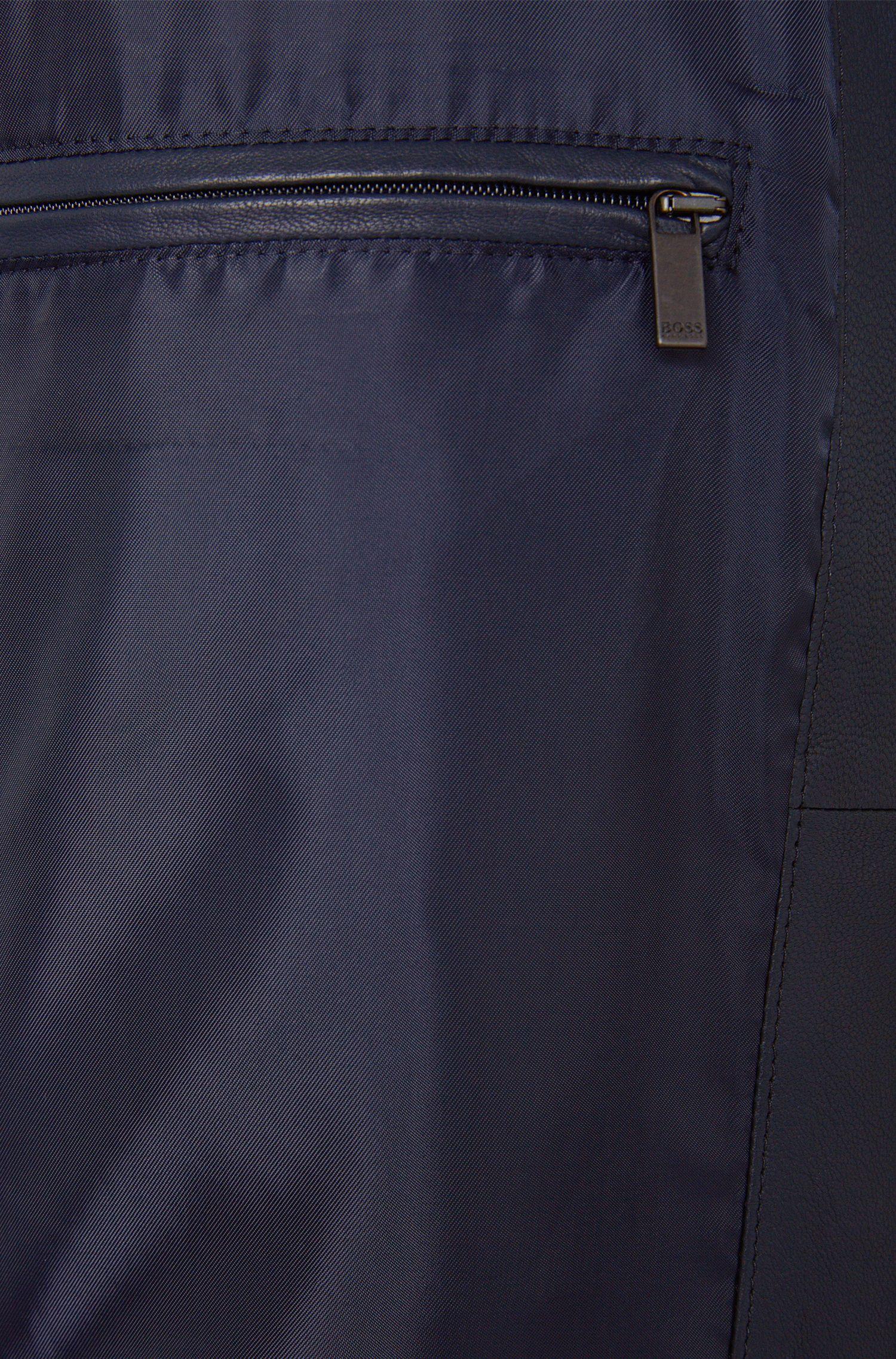 Unifarbene Lederjacke mit kurzem Stehkragen: 'Nevilo'