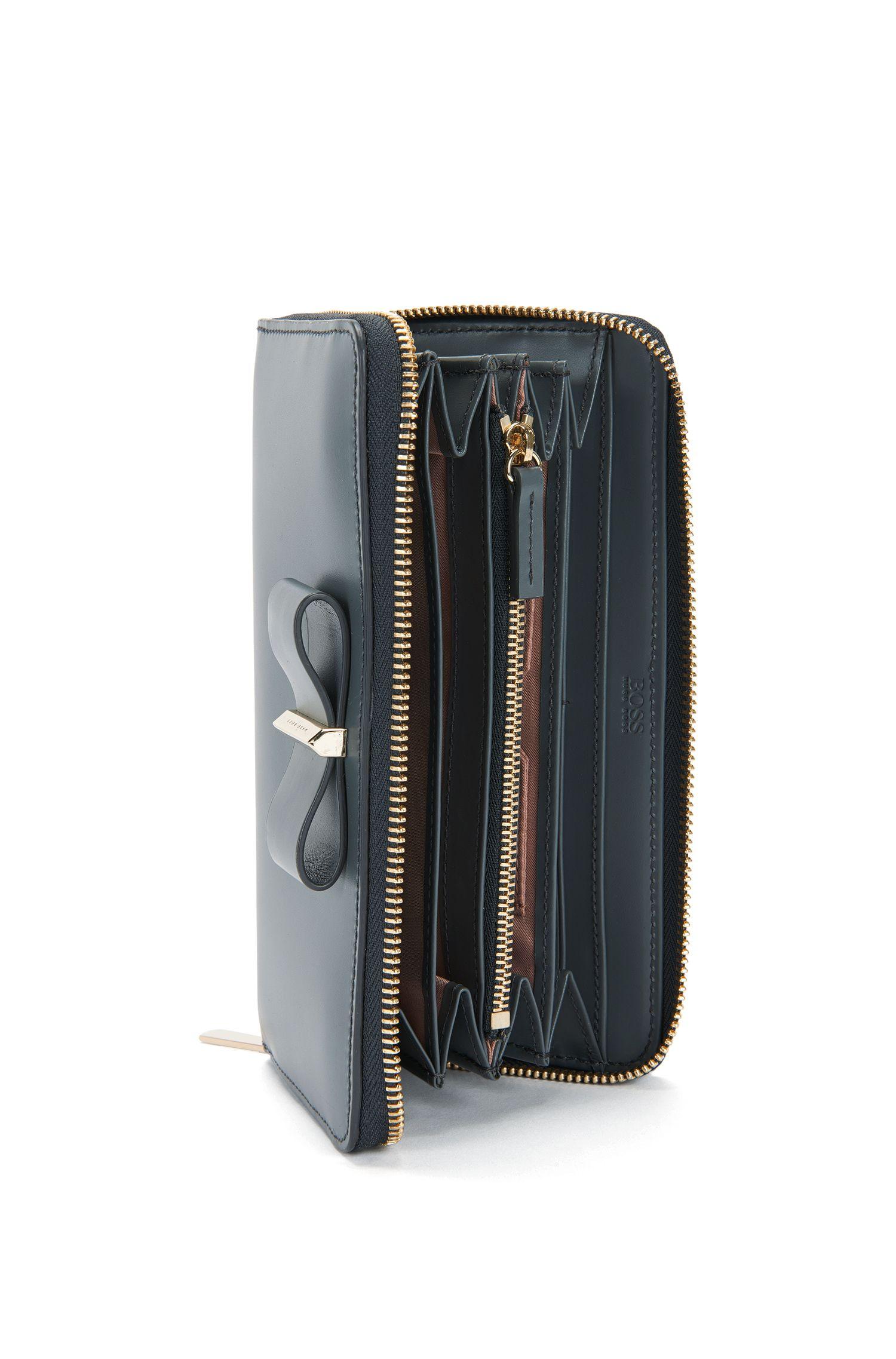 Geldbörse aus Glattleder mit Schleifen-Detail: 'Bow Ziparound'