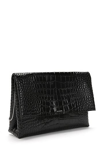 Clutch aus Leder mit Kroko-Print: 'Luxury Staple C-CS', Schwarz