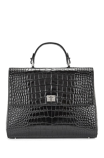 BOSS Bespoke Handtasche aus glänzendem Leder, Schwarz