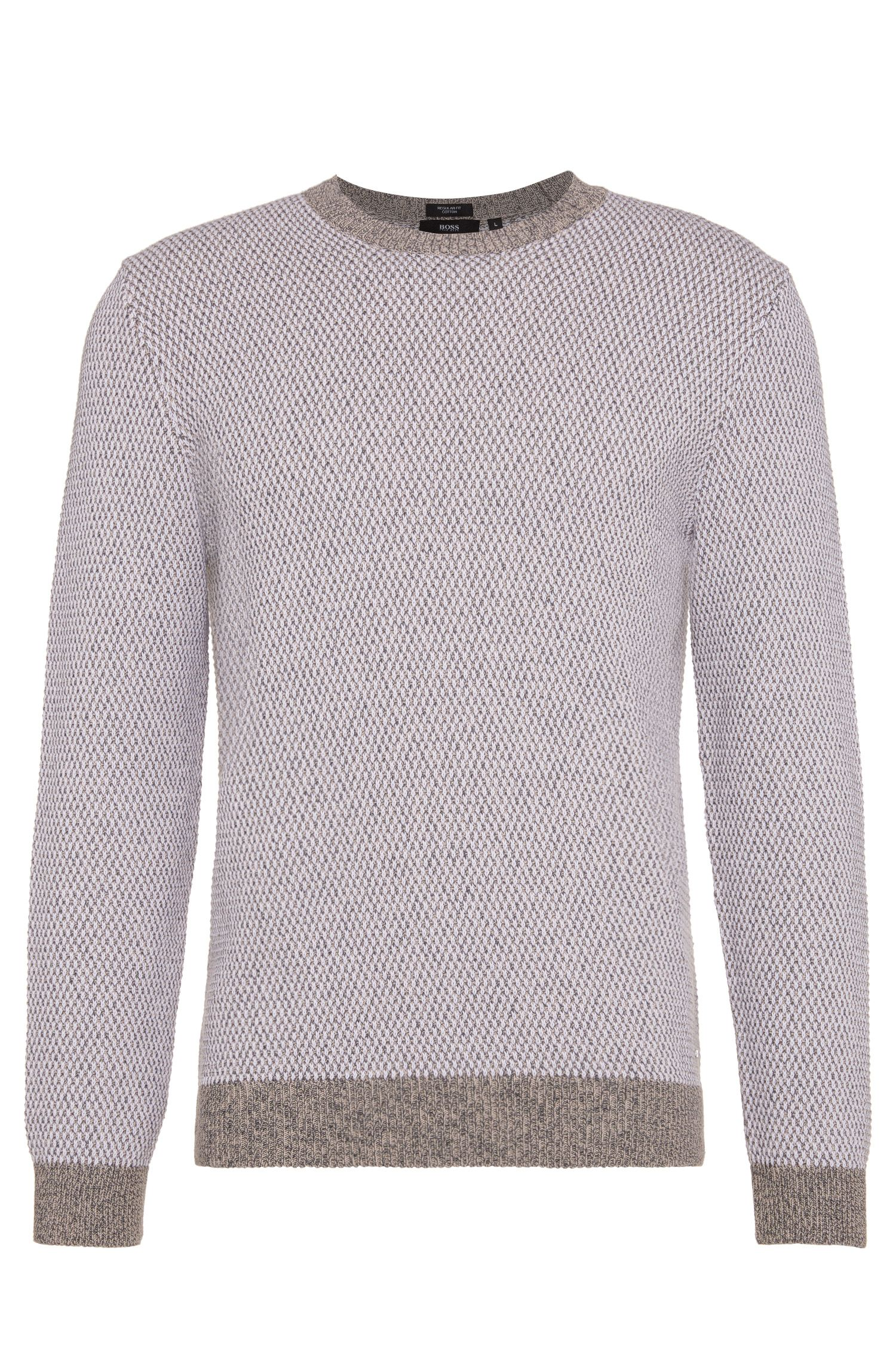 Regular-fit sweater in cotton with a round neckline: 'Heldo'