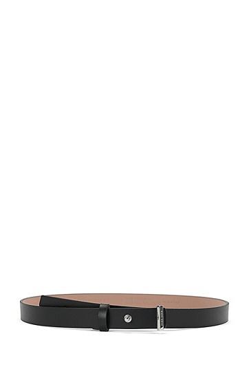 Gürtel aus Leder mit Zapfenverschluss: 'Pin Belt S', Schwarz