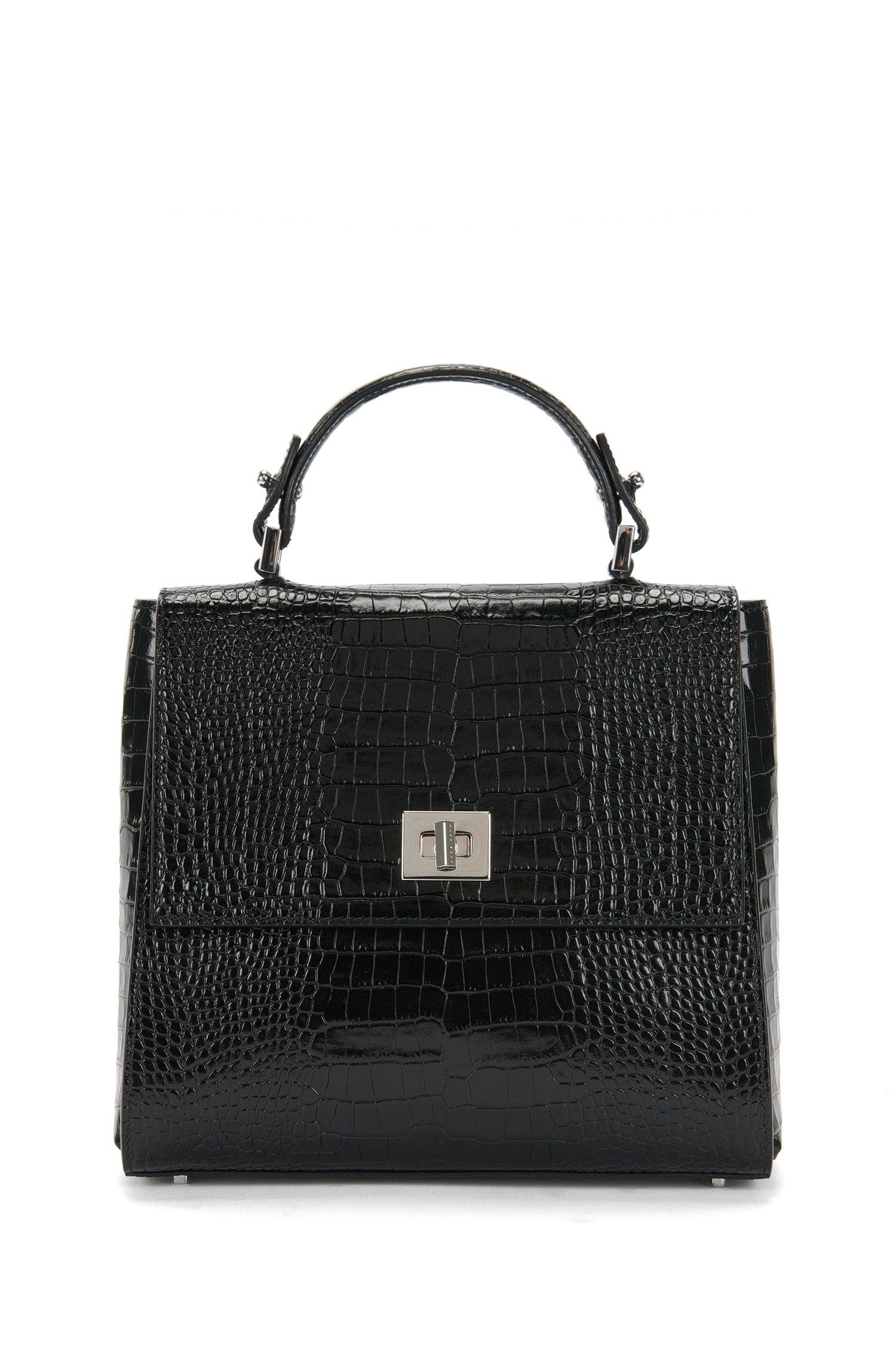 BOSS Bespoke Handtasche aus Leder mit Kroko-Print