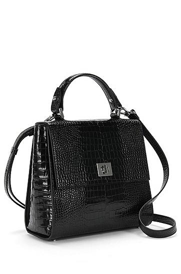BOSS Bespoke Handtasche aus Leder mit Kroko-Print, Schwarz
