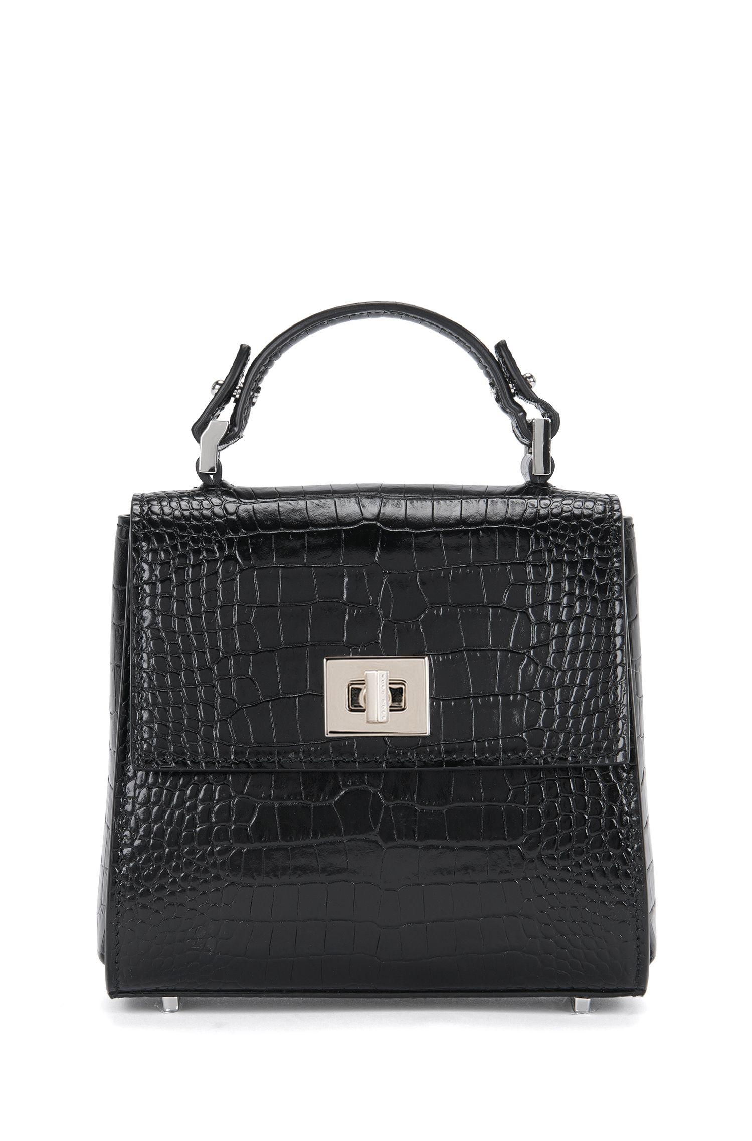 Kleine BOSS Bespoke Handtasche aus Leder mit Kroko-Print