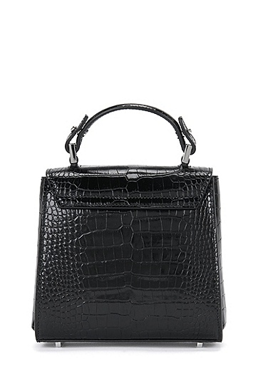 Kleine BOSS Bespoke Handtasche aus Leder mit Kroko-Print, Schwarz
