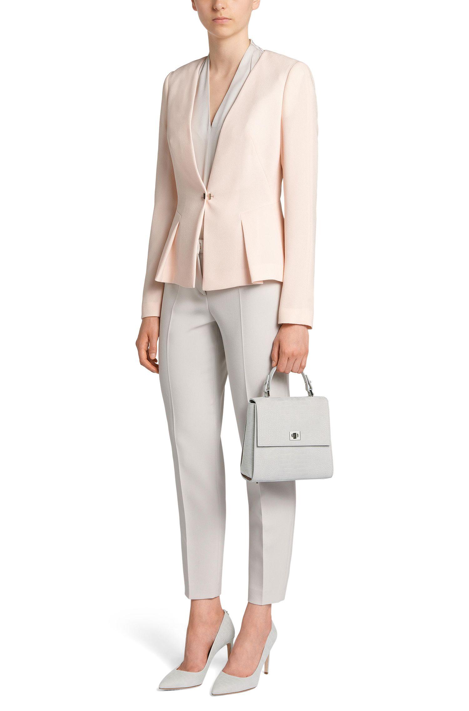 Kleine BOSS Bespoke Handtasche aus Veloursleder mit Kroko-Print