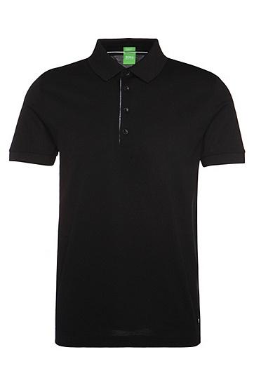 Regular-Fit Poloshirt aus merzerisiertem Piqué: ´C-Genova`, Schwarz