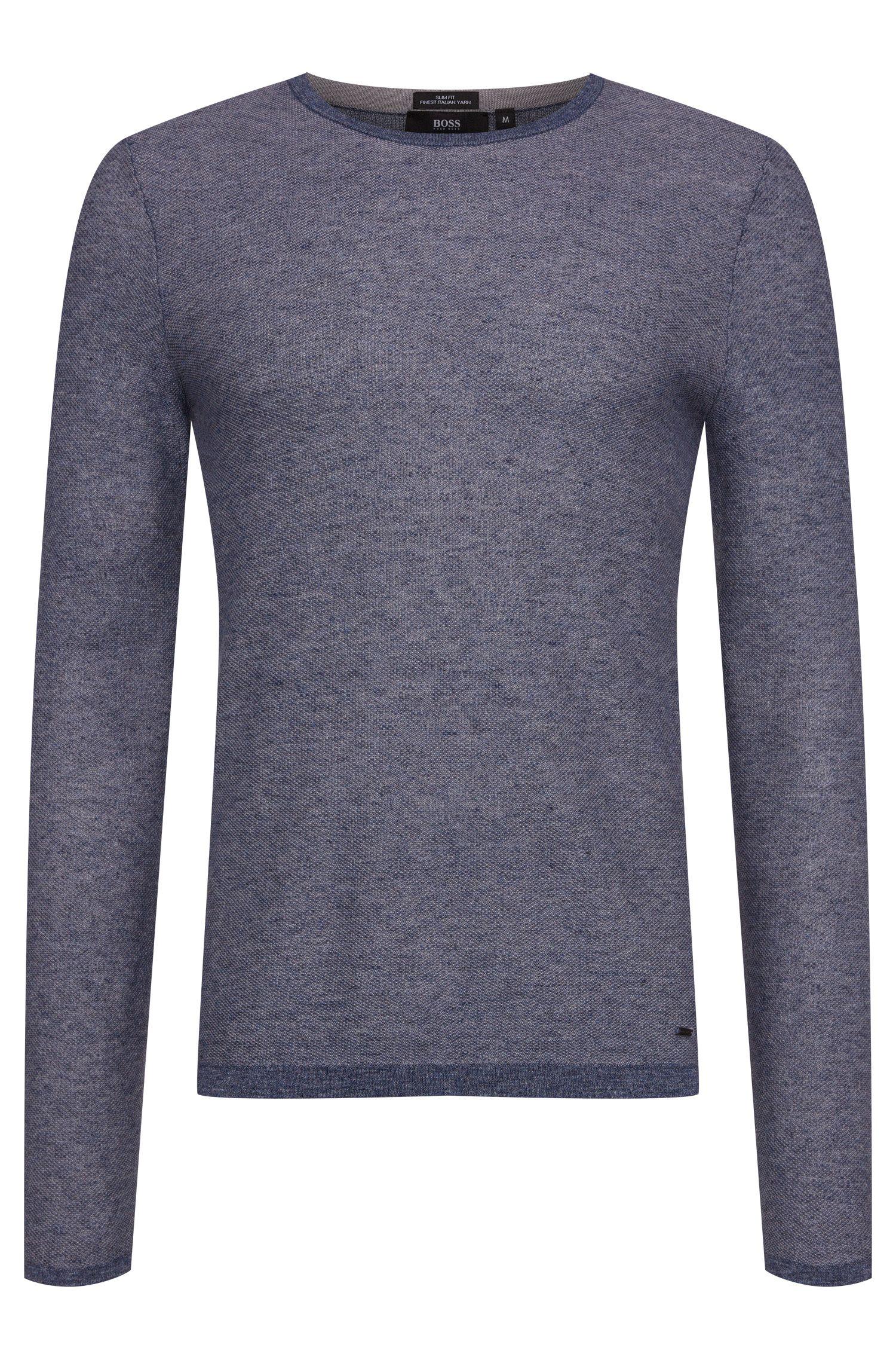 Gemêleerde slim-fit trui van zuivere katoen: 'Hamlett'