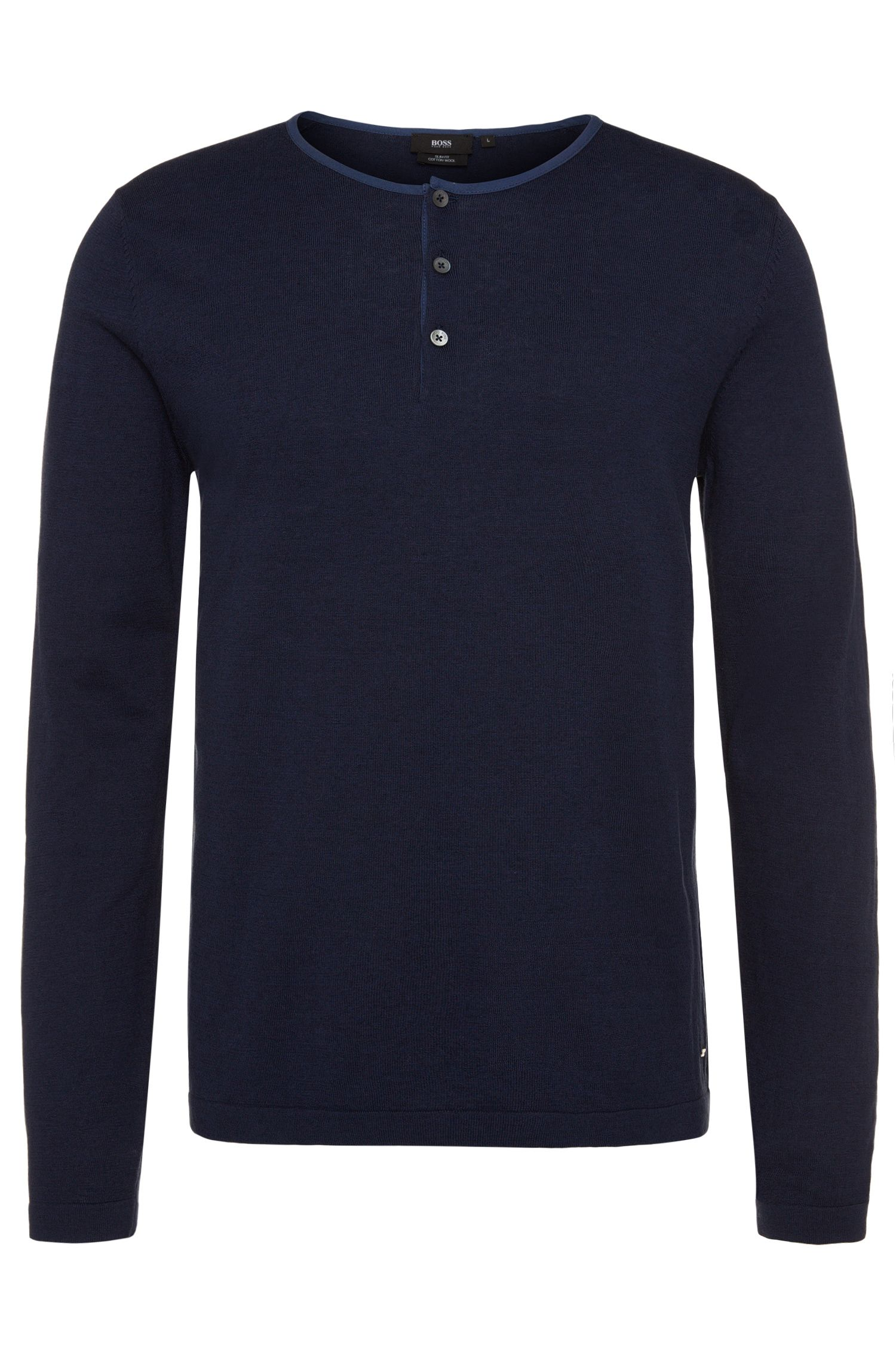 Slim-fit sweater in cotton blend with a button placket: 'Heiko'