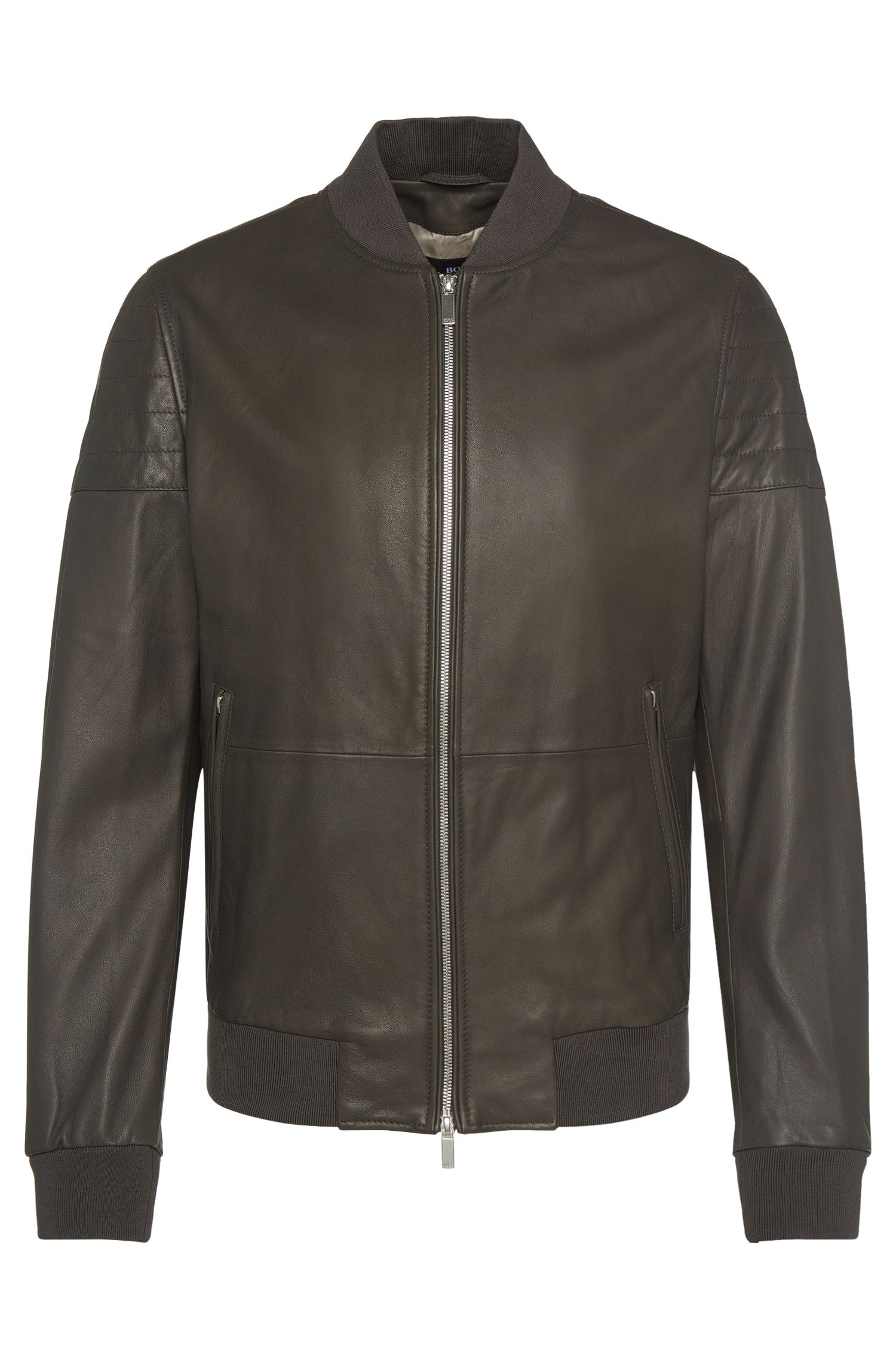 Leather jacket with ribbed collar: 'Gervon'